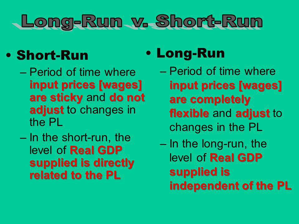 Long-Run v. Short-Run Long-Run. Period of time where input prices [wages] are completely flexible and adjust to changes in the PL.